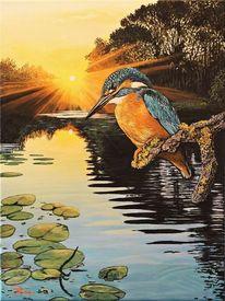 Vogel, Landschaft, Acrylmalerei, Malerei