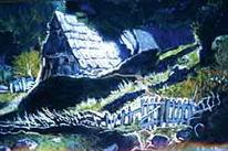 Hütte, Pastellkreide auf künstlerpapier, Landschaft, Malerei