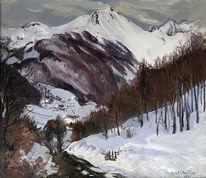 Landschaft, Winterlandschaft 5, Malerei, Winterlandschaft