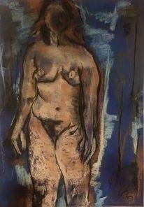 Blau, Pastellmalerei, Tonkarton, Dunkel