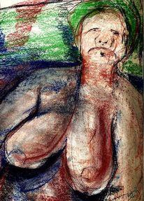 Kopftuch, Pastellmalerei, Feld, Malerei