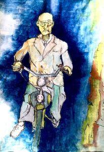 Aquarellmalerei, Moped, Hang, Aquarell