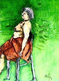 Grün, Stuhl, Tuch, Malerei