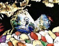 Fisch, Höhle, Kiesel, Malerei