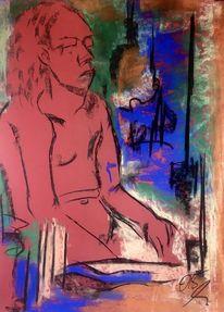 Lange haare, Schminke, Pastellmalerei, Malerei