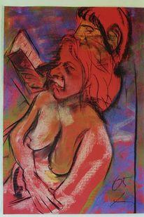 Pastellkreide auf tonkarton, Paar, Malerei,