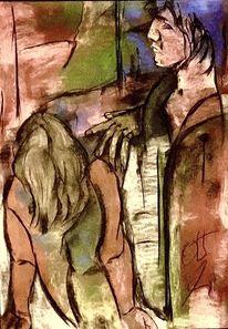 Ufer, Hand, Pastellmalerei, Malerei