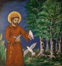 Mönch, Pastellmalerei, Franz von assisi, Heilig