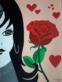 Herz, Frau, Bunt, Rose
