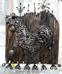 Metall, Figural, Skulptur, Mischtechnik