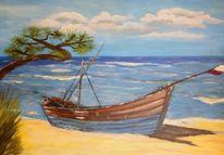 Acrylmalerei, Boot, Strand, Malerei