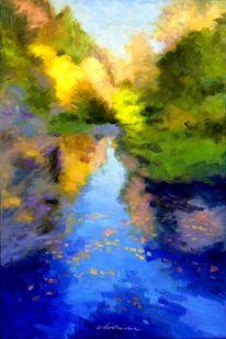 Herbst, Landschaft malerei, Natur, Wald