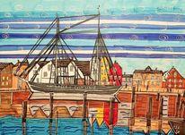 Frachtschiff, Nordsee, Hamburger syltlinie, Hörnumer hafen