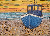 Sand, Meer, Boot, Sonnenuntergang
