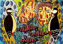 Krafttier, Malerei abstrakt, Buntspecht, Paar