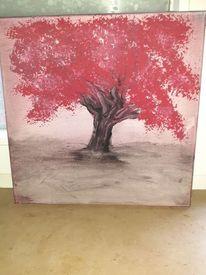 Aquarellmalerei, Baum, Rot, Aquarell