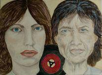 Gesicht, Portrait, Schallplatte, Malerei