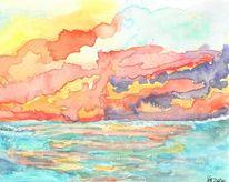 Aquarellmalerei, Meer, Himmel, Aquarell