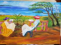 Baum, Meer, Frau, Malerei