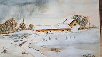 Haus, Gewitter, Winter, Aquarell