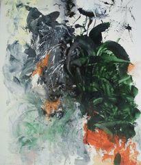 Ausbruch, Orange, Grün, Malerei