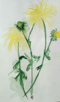 Gelb, Dahlien, Blätter, Aquarell