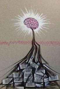 Konsum, Gehirn, Abstrakt, Mischtechnik