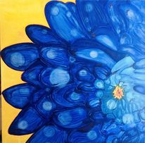 Blumen, Morgentau, Blau, Aquarell