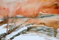 Aquarellmalerei, Landschaft, Winter, Aquarell