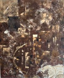 Abstrakt, Acrylmalerei, Naturtoene, Spachtel