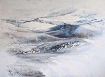 Acrylmalerei, Schnee, Abstrakt, Landschaft