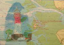 Leuchtturm, Seekarte, Buntstiftzeichnung, Zeichnungen