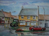 Regen, Irland, Stadtansicht, Aquarell