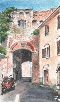 Massa maritima, Italien, Toskana, Aquarell