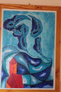 Acrylmalerei, Abstrakt, Blau, Malerei
