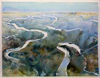 Landschaftsmalerei, Aquarellmalerei, Landschaft, Afrika