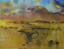 Landschaftsmalerei, Abendlicht, Aquarellmalerei, Korallen