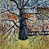 Herbst, Äste, Kirschbaum, Blätter