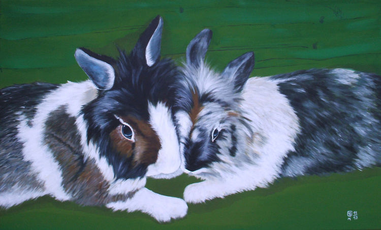 Kaninchen, Grün, Fell, Pfote, Hase, Malerei