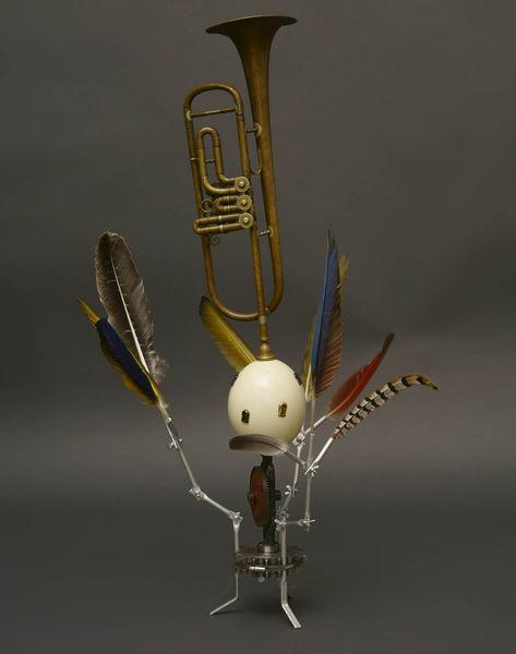 Ei, Schlüsselloch, Vogel, Federn trompete, Plastik