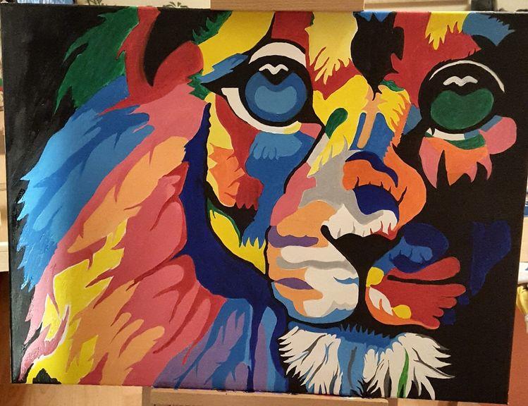 Acrylmalerei, Fantasie, Löwe, Bunt, Malerei