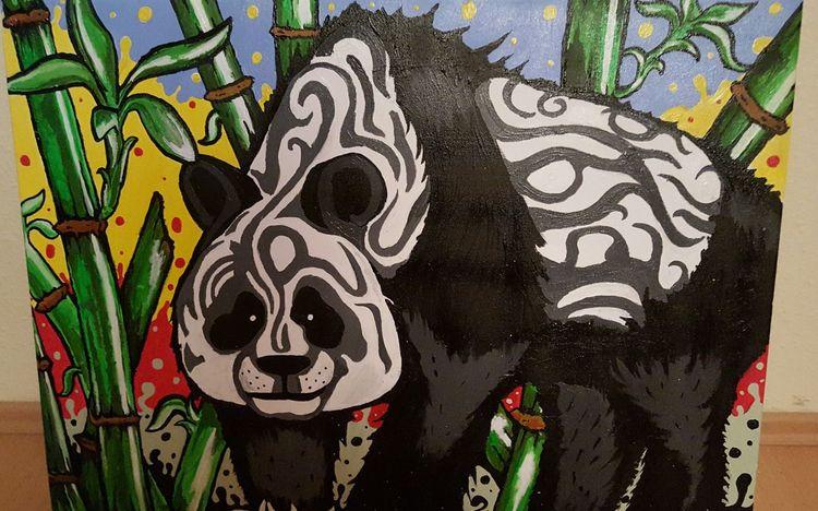 Acrylmalerei, Farben, Panda, Freude, Bambus, Malerei