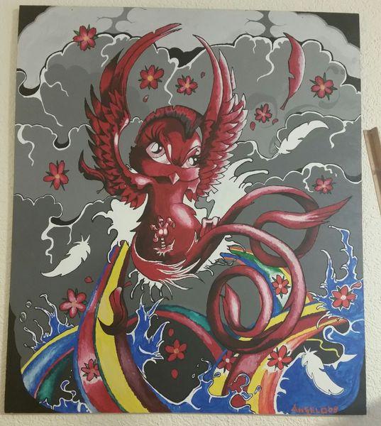 Comic, Schwalbe, Fantasie, Vogel, Acrylmalerei, Tattoo