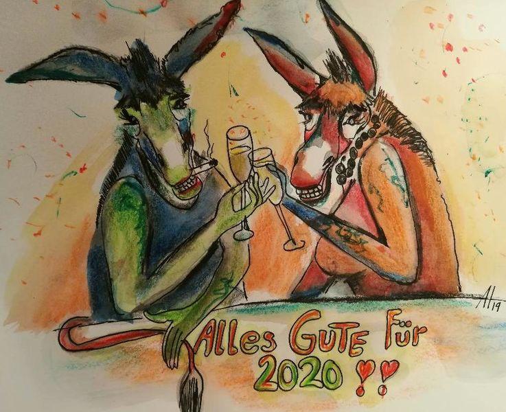Silvester, Happynewyear, Esel, Donkey, Zeichnungen