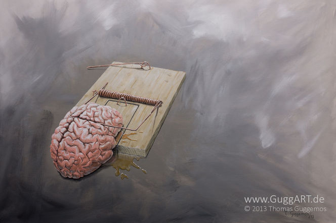 Denken, Gehirn, Acrylmalerei, Falle, Gedanken, Frei