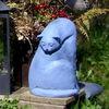 Gartenplastik, Gartenkeramik, Blau, Katze