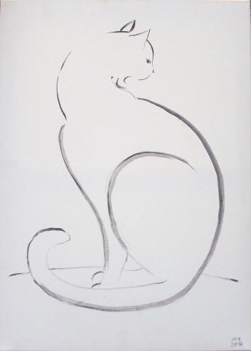 Katze, Schwarz weiß, Zeichnung, Grafik, Tusche, Handzeichnung