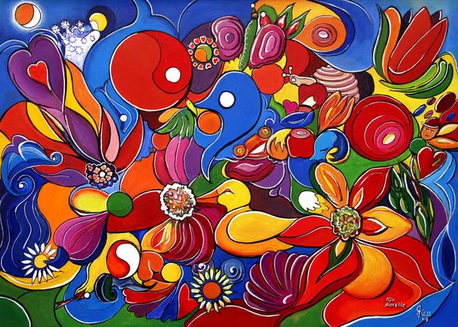 Bunt, Liebe, Leben, Blumen, Freude, Malerei