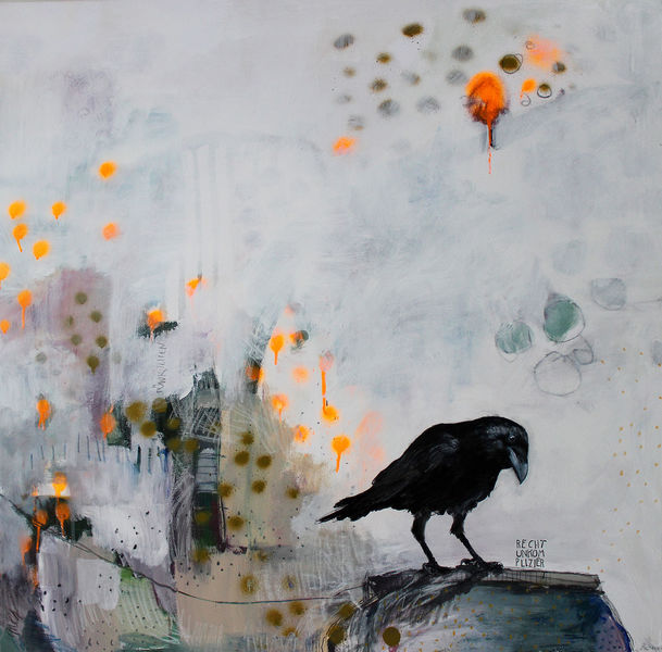 Abstrakt, Krähe, Schwarzer rabe, Rabe, Neon, Illustration