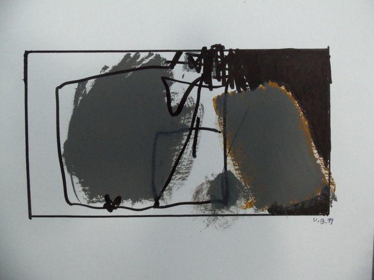 Grau, Abstrakt, Landschaft, Malerei